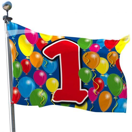 Gevel vlaggen met cijfer 1 print. Het formaat van de 1 jaar vlag is 60 x 90 cm. 1 jaar/1 jarig verjaardag of jubileum vlaggen.