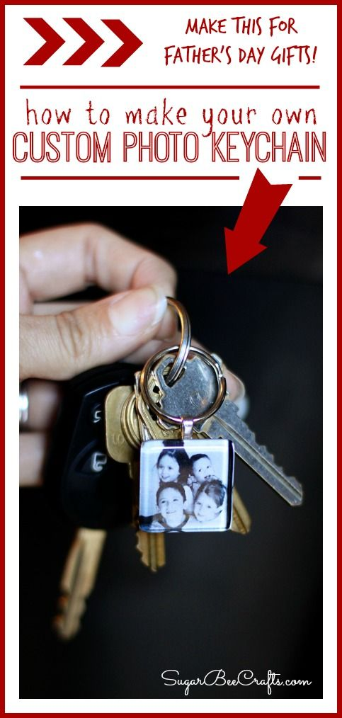 how to make a DIY Custom Photo Keychain - this is a great gift idea for Father's Day!! ~ Sugar Bee Crafts