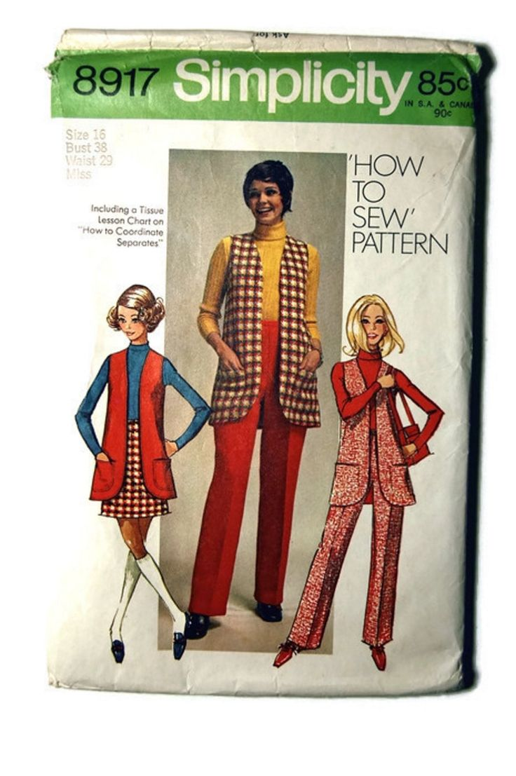 1970 simplicity pattern 8917 How To Sew Pattern Misses' Vest, Mini skirt, and pants by SewSymple on Etsy