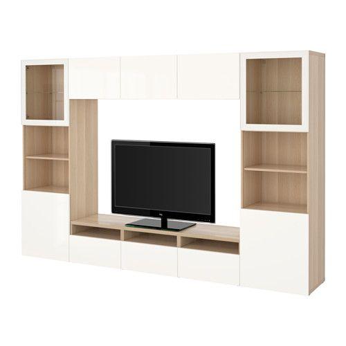 BESTÅ TV storage combination/glass doors - white stained oak effect/Selsviken…