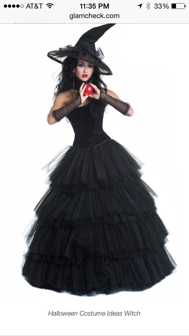 Witch costume idea!...buy a cheap prom dress at a thrift store. It doesn't have to be black. Make a MATCHING witch hat. Many tutorials on this board for witch hats. Use a coordinating color of thrift shop fabric, scarf, flowers, etc, to make the hat match the dress. (Or cover a black cheap witch hat)