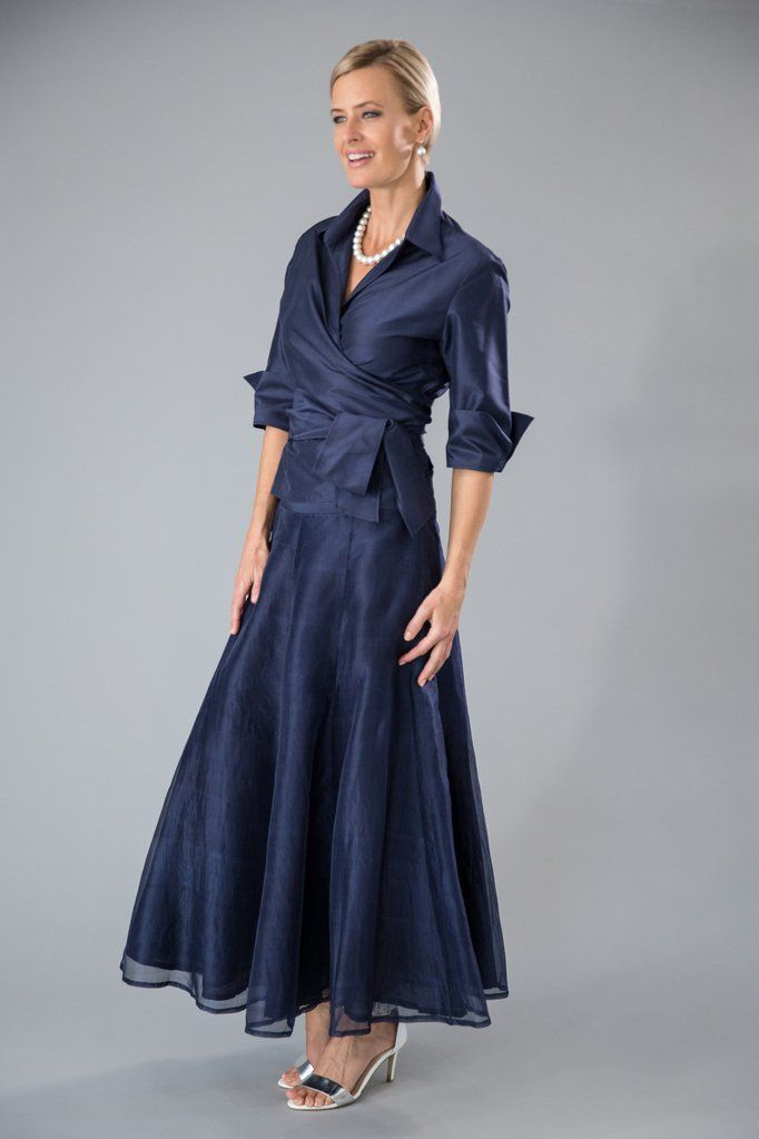 aa5b15b5153 This outfit is classic elegance for the modern mother of the bride or mother  of the groom. The Navy Pansy Skirt and Navy Classic Wrap Shirt is a pure  silk ...