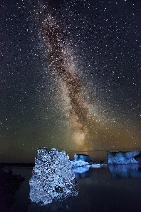 Milky Way , Jökulsárlón, Iceland @darleytravel