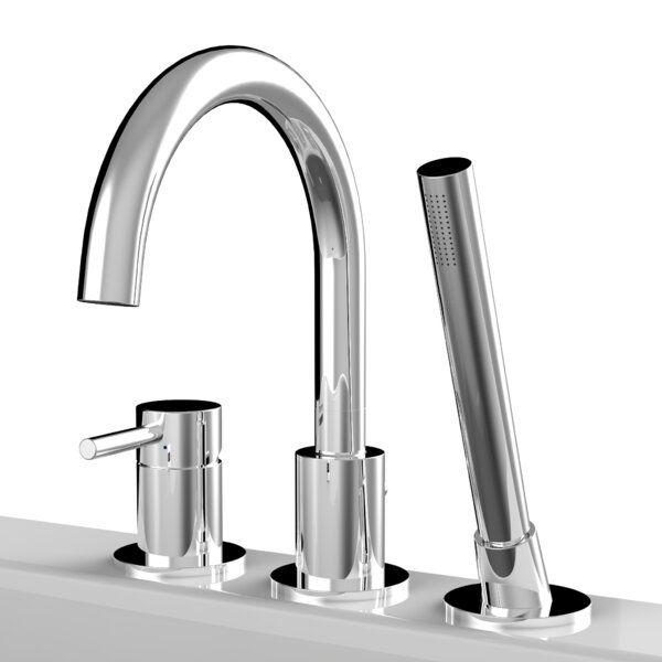 Single Handle Deck Mounted Roman Tub Faucet With Handshower In 2020 Roman Tub Faucets Tub Faucet Modern Bathtub Faucet