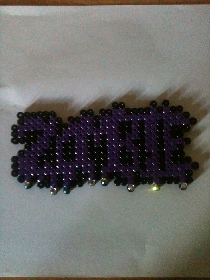 """""""Zombie"""" word with added bling. Could be made in2 a fashion necklace, bag charm or magnet etc. #hamabeads #perlerbeads #emo #goth #rock #jewellery #accessories #homemadecraftideas"""