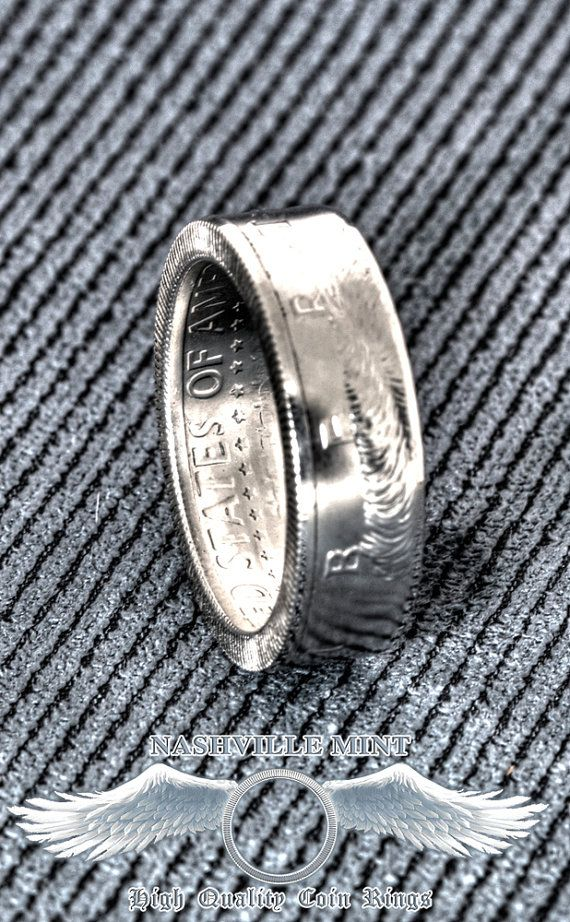 2001 Silver JFK Kennedy US Half Dollar Double Side Coin Ring Size 7-17 14 Year Wedding Anniversary 14th Birthday Gift 90% Silver Coin Rings
