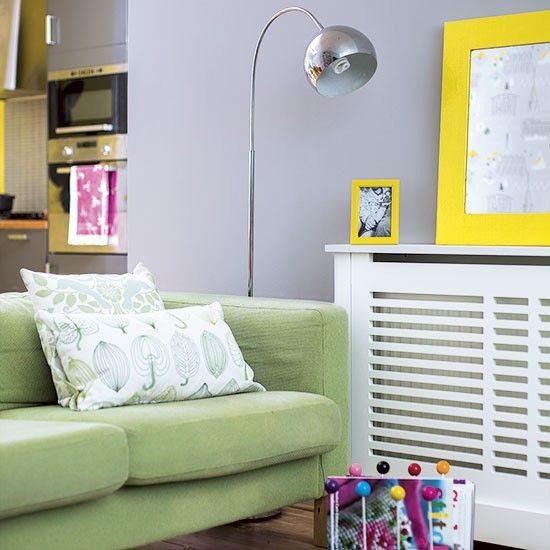 Grey And Yellow Living Room Nook
