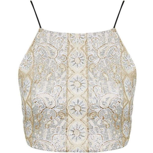 978824fe76cb78 TOPSHOP Gold Beaded Embellished Bralet ( 21) ❤ liked on Polyvore featuring  tops