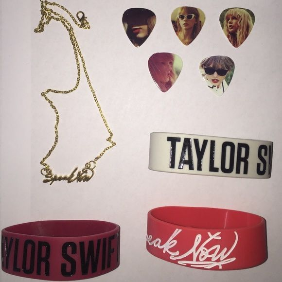 Limited Edition Taylor Swift Merchandise One Limited Edition Speak Now necklace, originally priced at $40. Three limited edition taylor swift bracelets two sayings red and one for speak now originally $13 each. 5 Taylor Swift guitar picks originally $16. Taylor swift Jewelry Necklaces