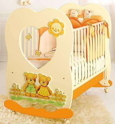 lettino Cuore panna/arancio #baby #crib #cot