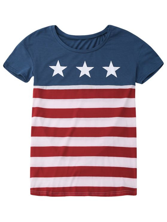 Scoop Neck Patriotic American Flag T-Shirt - COLORMIX XL Mobile