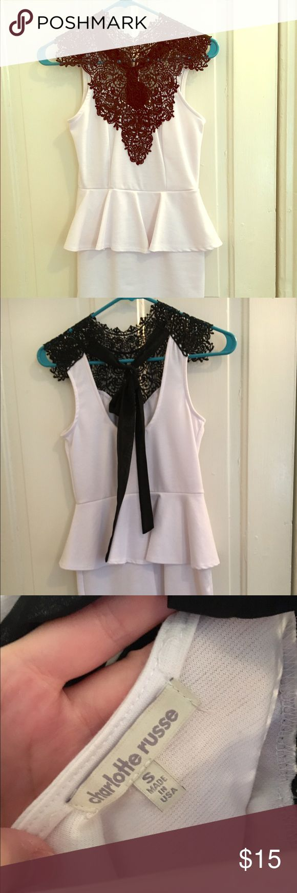Black and White peplum dress Black lace front on a White peplum dress, tie back in Small Charlotte Russe Dresses Midi