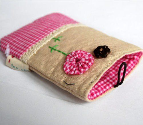 mobile site-wholesale Cute Kawaii Gingham Fabric Mobile Phone Pouch Sock cell phone case cellphone bag classical allusion model