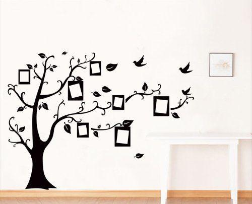 Ufingodecor foto in bianco albero cornice muro adesivi for Black tree wall mural