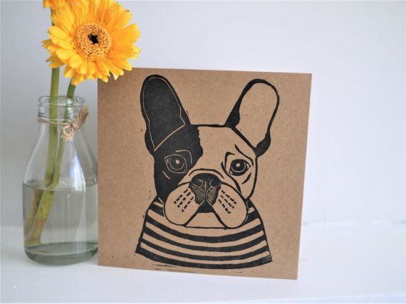 French Bulldog Card Hand Printed Lino Print by The Black Pug Press Frenchie