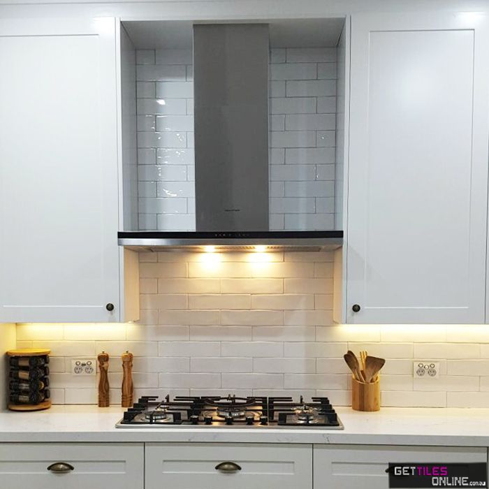 Cheap Handmade Look Subway Tiles - Hume White Gloss 75x300