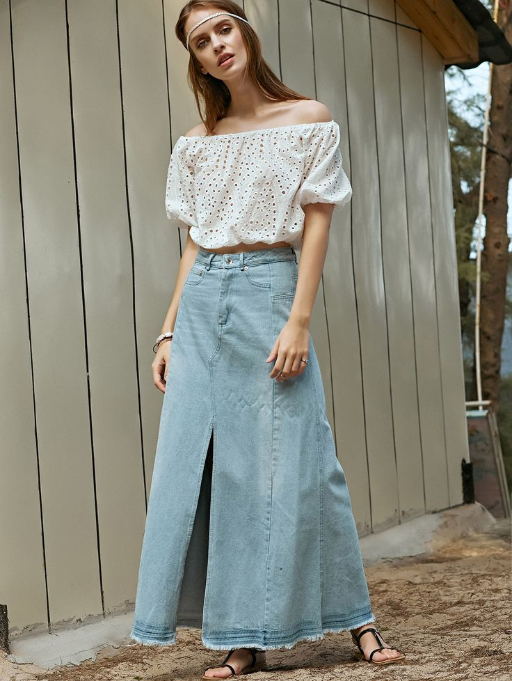 17 Best images about Long denim skirts on Pinterest | Maxi skirts ...