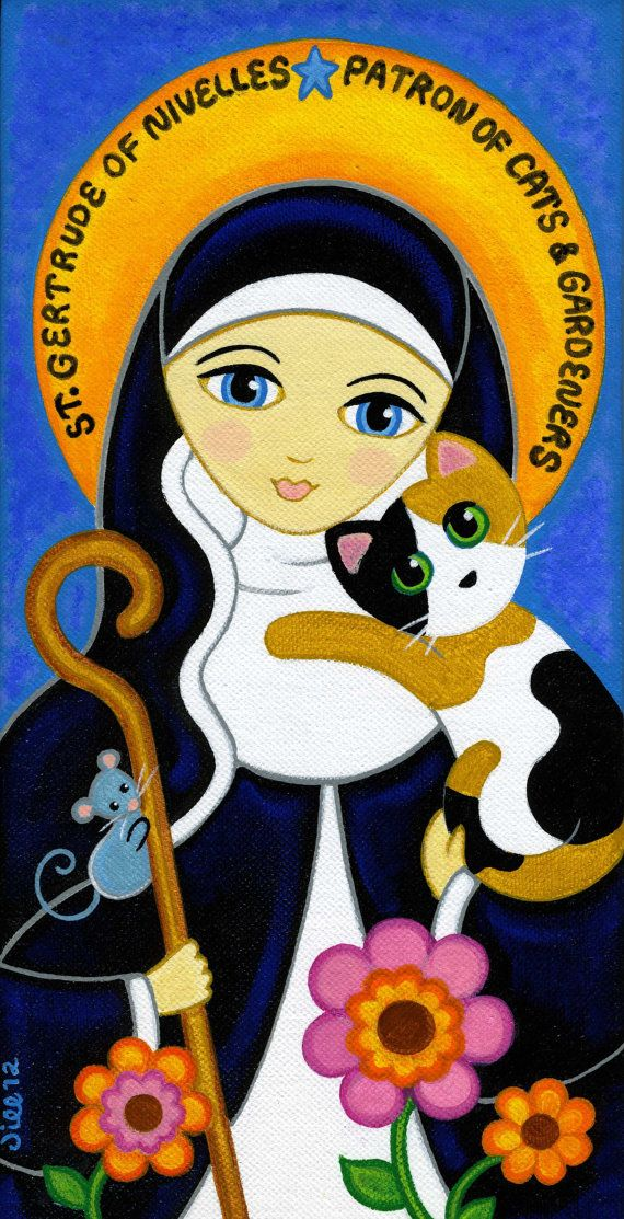 Saint GERTRUDE of Nivelles & CAT Art PRINT from Original Painting by Jill
