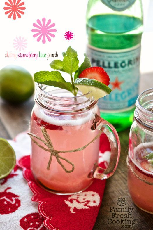 Skinny Strawberry Lime Punch {Cocktail or Alcohol-Free}
