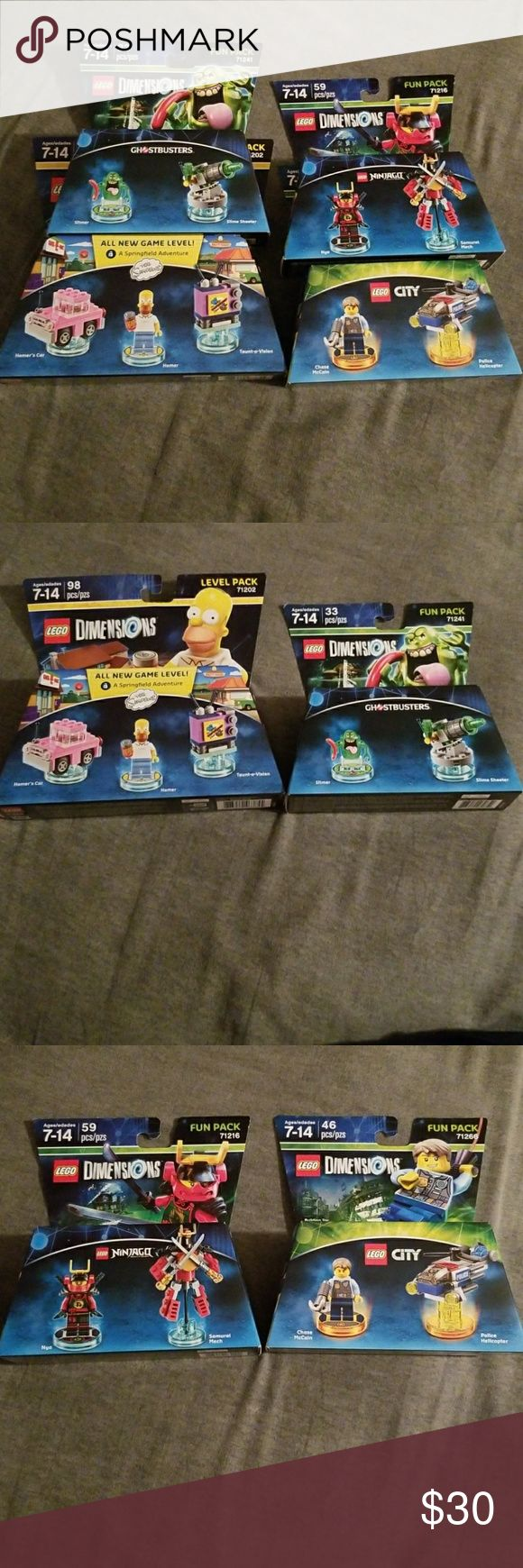 Lego Dimensions Simpsons, Ghostbuster + 2 more For sale is 4 packs of Lego Dimensions. The Simpsons Homer, Homer's car and Taunt-o-vision. The Ghostbusters Slimer and Slime shooter. Lego City Chase McCain and Police Helicopter. And lastly, Lego Ninjago Nya and Samurai Mech. All brand new sealed in package. Lego Accessories