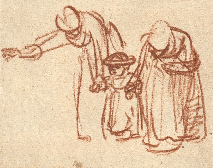Rembrandt van Rijn, Two women teaching a child to walk, c. 1640 103 x 128  mm. British Museum, London