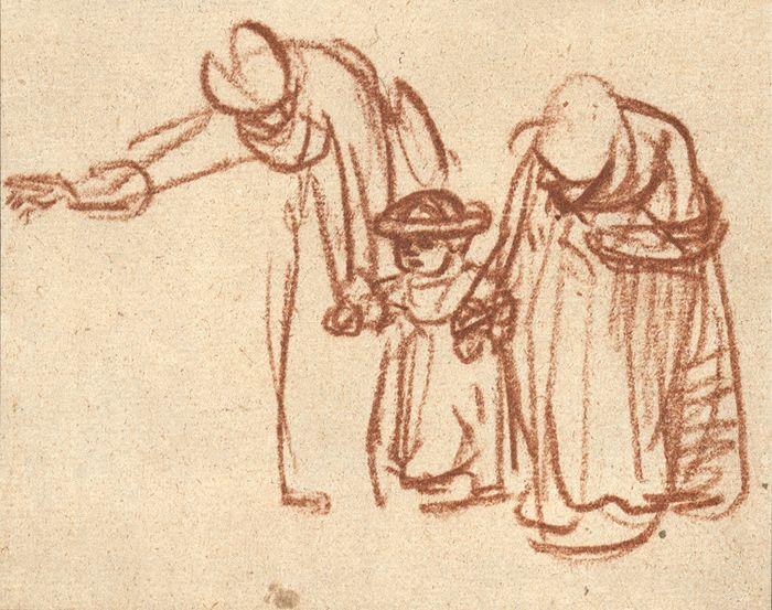 Rembrandt van Rijn, Two women teaching a child to walk, c. 1640 103 x 128  mm. British Museum, London