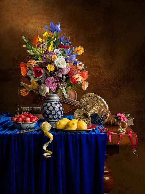 Looks like a set up for a still life painting.  lovely centerpiece-via boostinspiration