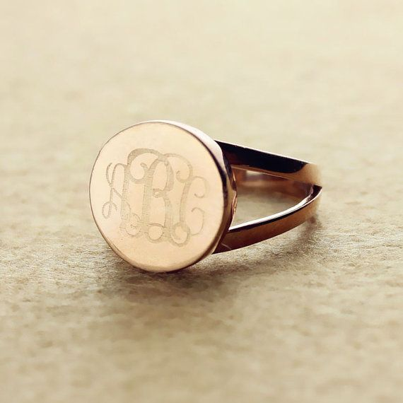 Engraved Monogrammed Ring Personalized 3 Initials Rose