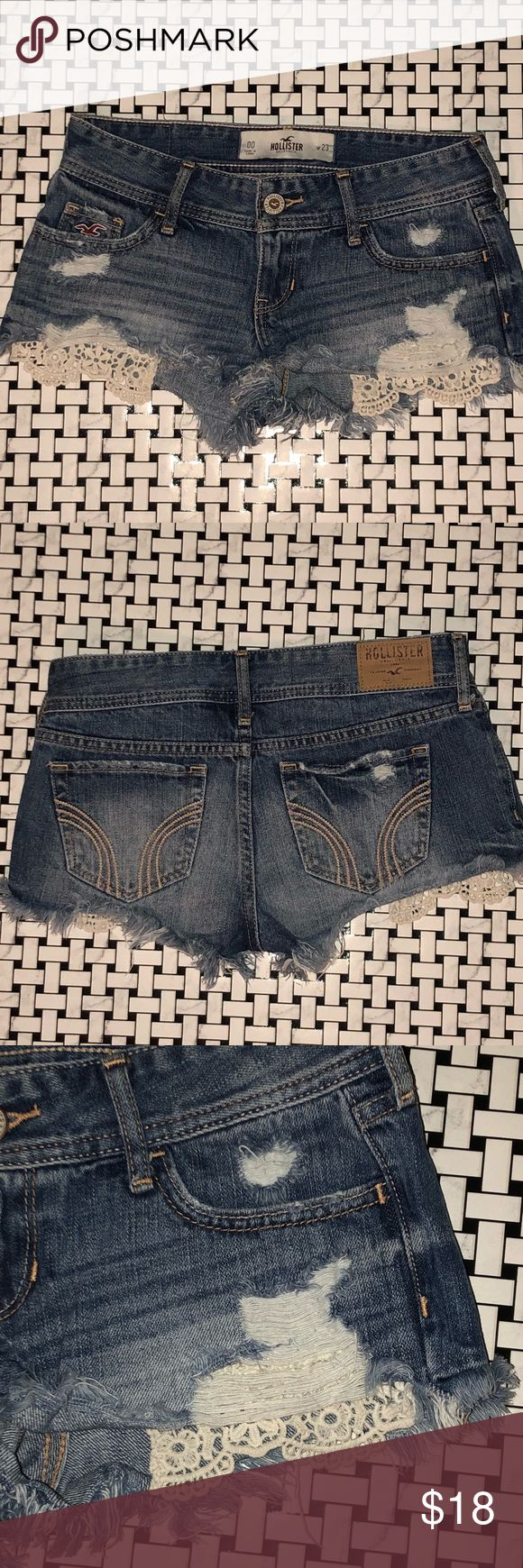 """Hollister Distressed and Lace jean shorts Hollister mini shorts Lace in pockets  Medium wash  Size 00 (waist 23"""") Hollister Shorts Jean Shorts"""