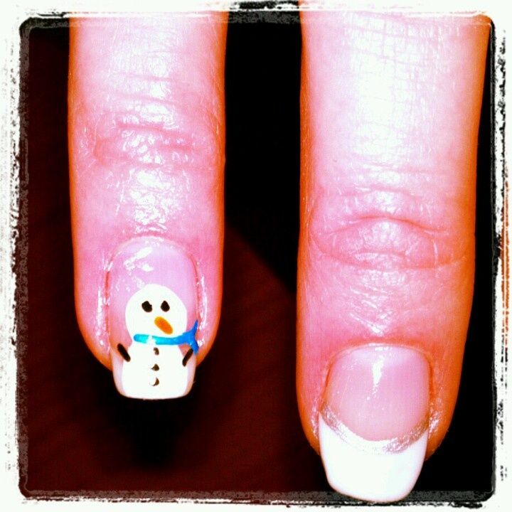 shellac Snowman nails | Nails by me! #nailsbytracim | Pinterest