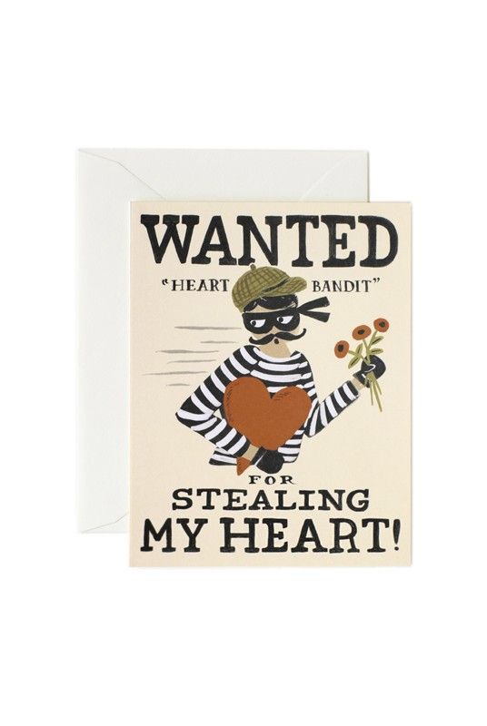 Rifle Paper Co Blank Card - Heart Bandit   - Available from NoteMaker.com.au #Valentinesday #Valentines #Valentinecards