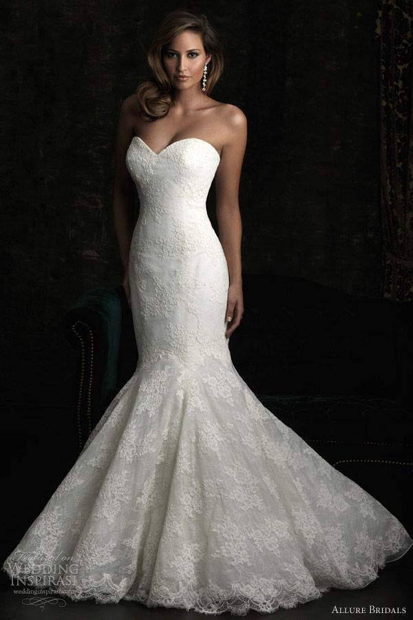 allure bridals style 8970 strapless fit flare lace wedding dress