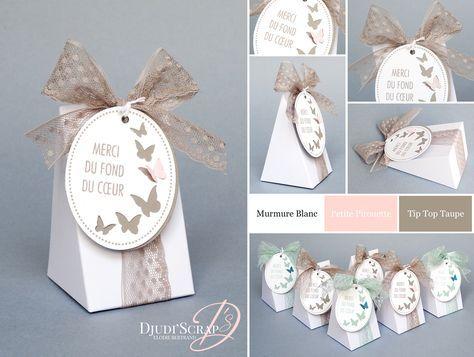 Stampin'Up! by Djudi'Scrap - Boîte Chocolats Dragées Baptême « Thinlits Petite Part pour Toi / Cuttie Pie Thinlits »