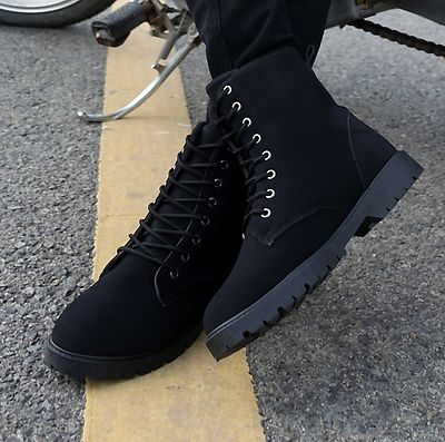 Mens-lace-up-zip-up-ankle-boots-round-toe-work-outdoor-casual-winter-shoes-yh