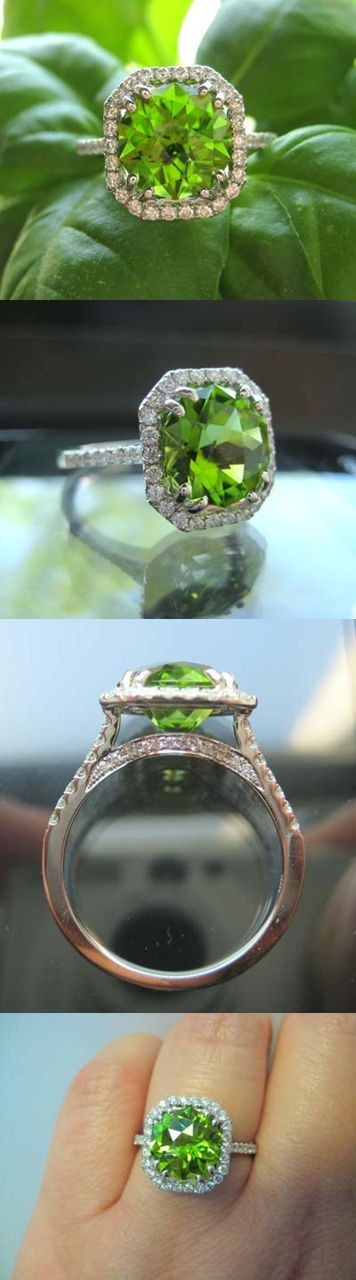 Ring in Spring with cellentani's bright and lively apple green peridot. The rich green 3.46 carat Pakistani peridot was precision faceted to maximize color and brilliance. The stunning gem is set in a classic diamond halo ring.