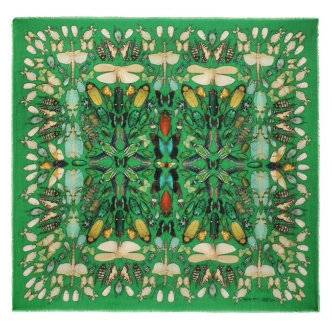 Green Mix Bug Skull Scarf | Damien Hirst & Alexander McQueen Scarf Collection