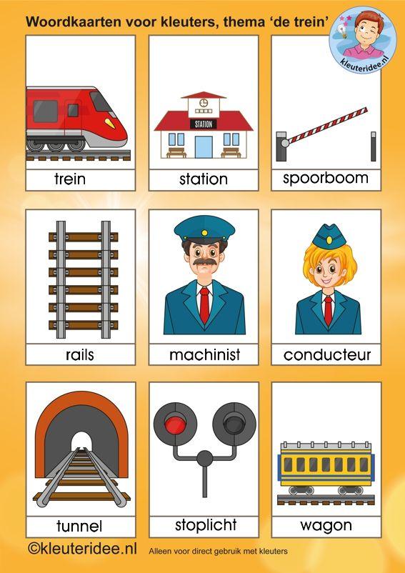 Woordkaarten voor kleuters, thema 'de trein', kleuteridee.nl.