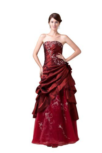 Honeystore women s embroidery long wedding dresses color burgundy size