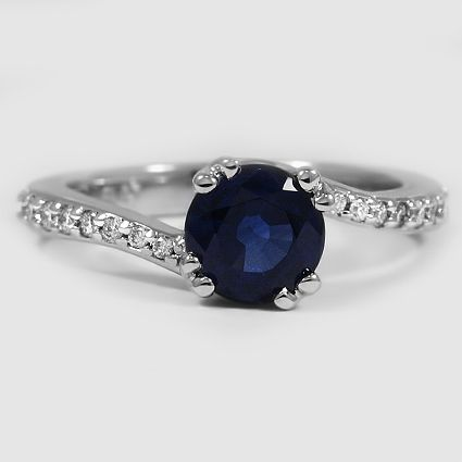 Platinum Sapphire Seacrest Ring with Diamond Accents // Set with a 6.5mm Blue Round Sapphire
