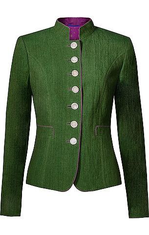 Figurnaher Damen-Trachten-Blazer von Habsburg in dem Farbton Jade. Der grüne Trachten-Blazer ist mit einem kleinen Stehkragen, zwei Eingriffstaschen, kurzer Rückenfalte und einem pinkfarbenen Innenfutter ausgestattet.