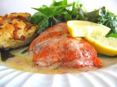 Pan Fried Salmon in a Lemon Garlic Cream Sauce with white wine  (double or triple the sauce, and serve over spinach konjac noodles, mixed with fresh wilted spinach)  (so, use 1 stick butter,  1 finely minced shallot or red onion, 3 finely minced garlic cloves, 3/4 cup white wine,  3 TBS lemon juice, 3/4 cup heavy cream,  dash pepper)