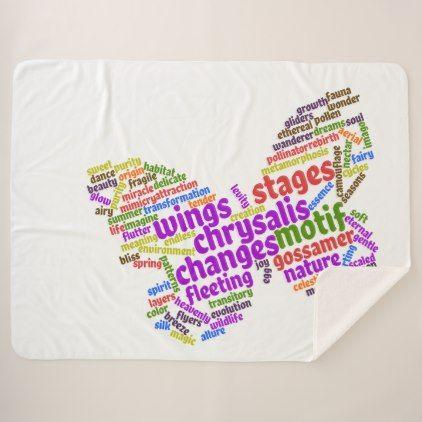 Inspirational Elegant Butterfly Tag Cloud Sherpa Blanket - original gifts diy cyo customize