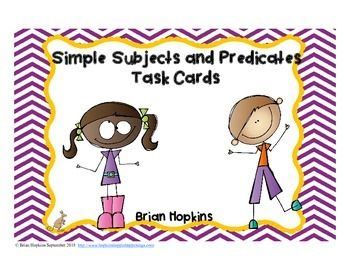 "Simple+Subject+and+Predicate+Task+Cards+is+perfect+for+a+writing+center+or+station,+to+play+the+game+""Scoot"",+for+early+finishers,+cooperative+group+activities+like+""Quiz,+Quiz+Trade"",+etc.++There+are+24+task+cards+in+all.++Each+card+ask+for+either+the+simple+subject+or+the+simple+predicate."