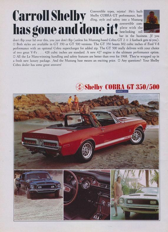 Shelby GT350 poster vintage muscle car ART Canvas 1968 GT 350 Ford Mustang Cobra