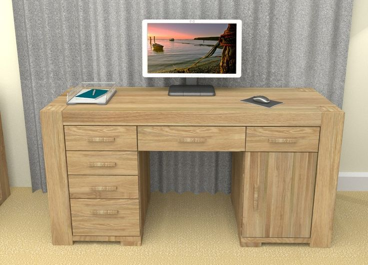 atlas chunky oak hidden home. our atlas twin pedestal home office computer desk has a solid feel combined with contemporary designs chunky oak hidden o
