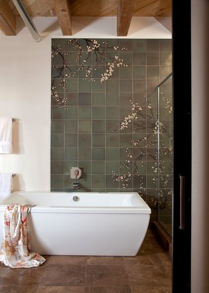 Modern / Asian / Industrial... Contemporary Bathroom by laurel quint interior design