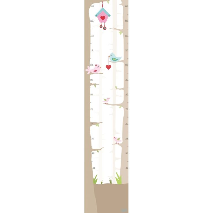 Wandaufkleber-Messlatte 'Vogelhochzeit' 30x145cm