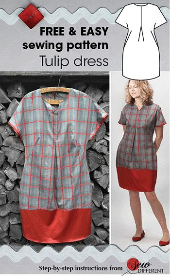 Tulip dress - FREE sewing pattern and tutorial from Sew Different. So easy and quick to make. Only 2 simple pieces and no zips. Happy sewing!
