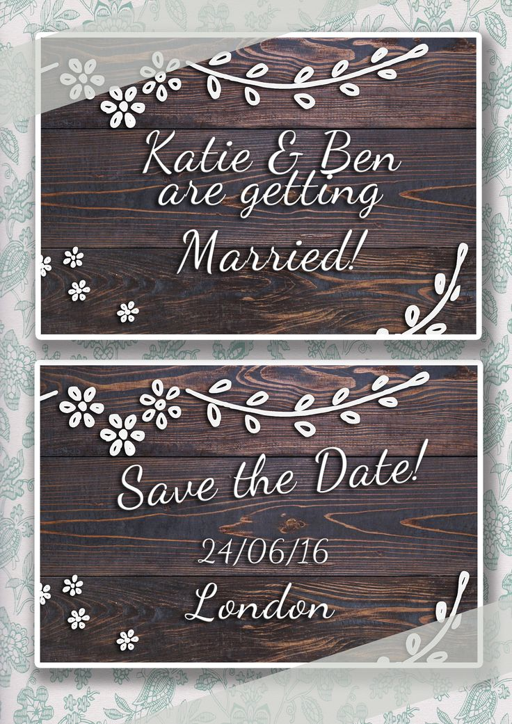 Vintage wooden floral save the date card