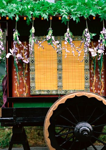 """Court carriage, Aoi Festival, Kyoto, Japan. The Aoi Matsuri (葵祭), or """"Hollyhock Festival,"""" is one of the three main annual festivals held in Kyoto, Japan, the other two being the Festival of the Ages (Jidai Matsuri) and the Gion Festival. It is a festival of the two Kamo shrines in the north of the city, Shimogamo Shrine and Kamigamo Shrine. The festival may also be referred to as the Kamo Festival. It is held on 15 May of each year."""
